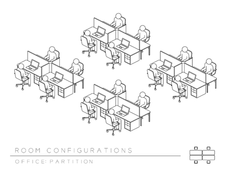 Office room setup layout configuration Half Partition style, perspective 3d isometric with top view illustration outline black and white color Vector Illustration
