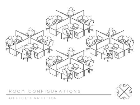Office room setup layout configuration Half Partition style, perspective 3d isometric with top view illustration outline black and white color Vectores