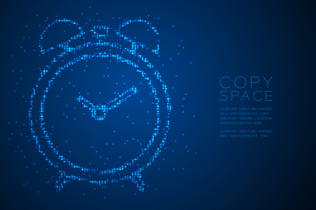 Abstract Geometric Bokeh circle dot pixel pattern Alarm clock shape, digital reminder concept design blue color illustration isolated on blue gradient background with copy space, vector eps 10 Illustration
