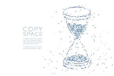 Abstract Geometric Circle dot pixel pattern 3d isometric Hourglass shape, digital reminder concept design blue color illustration on white background with copy space, vector Illustration
