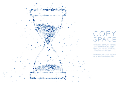 Abstract Geometric Circle dot pixel pattern Hourglass shape, digital reminder concept design blue color illustration on white background with copy space, vector eps 10