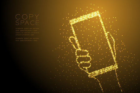 Abstract Shiny Bokeh star pattern Hand holding smartphone shape, digital concept design gold color illustration isolated on brown gradient background with copy space, vector eps 10 Illustration