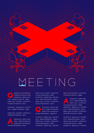 Cross sign table with man icon pictogram in boardroom, Business issues: Meeting concept magazine page layout design illustration isolated on dark blue background, with copy space