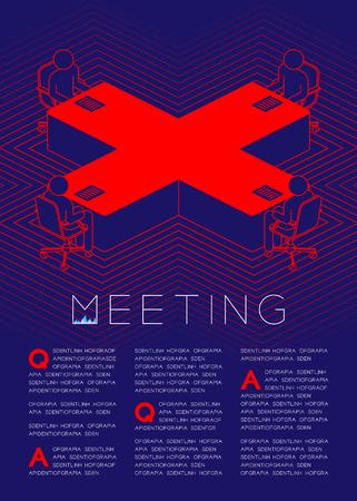 Tabella del segno trasversale con pittogramma dell'icona dell'uomo nella sala riunioni, problemi aziendali: illustrazione di progettazione del layout di pagina della rivista di concetto di riunione isolato su sfondo blu scuro, con spazio di copia Vettoriali