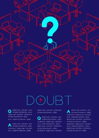 Point d'interrogation avec pictogramme d'icône homme doute, questions sociales: illustration de conception de mise en page de magazine de concept de bureau isolé sur fond bleu foncé, avec espace de copie
