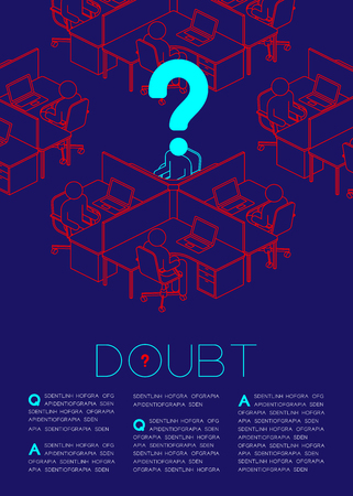 Punto interrogativo con il pittogramma dell'icona dell'uomo di dubbio, questioni sociali: illustrazione di progettazione del layout di pagina della rivista di concetto di ufficio isolata su sfondo blu scuro, con lo spazio della copia
