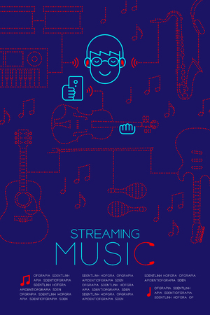 Man with earphone wireless connect smartphone, Streaming music concept magazine page layout design illustration isolated on dark blue background, with copy space