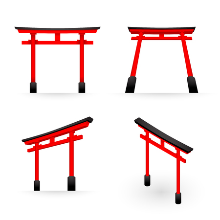 Japanese Torii red color perspective and isometric view