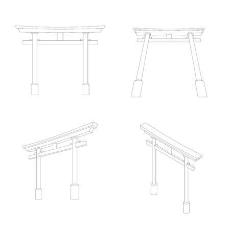 Japanese Torii perspective and isometric view, Editable stroke illustration