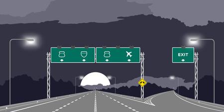 Cruce en Y autopista o autopista y señalización verde en la ilustración nocturna aislada sobre fondo de cielo oscuro