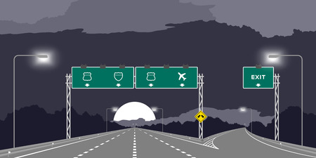 Y junction Highway or motorway and green signage at nighttime illustration isolated on dark sky background Vettoriali