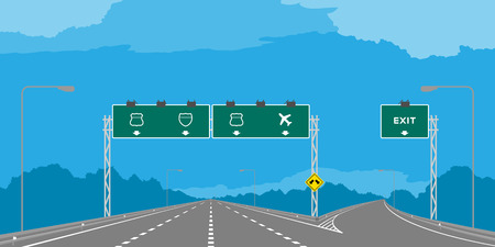 Y junction Highway or motorway and green signage in daytime illustration isolated on blue sky background Çizim
