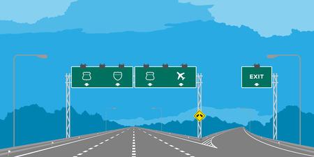 Y-kruising Snelweg of snelweg en groene bewegwijzering overdag illustratie geïsoleerd op blauwe hemelachtergrond