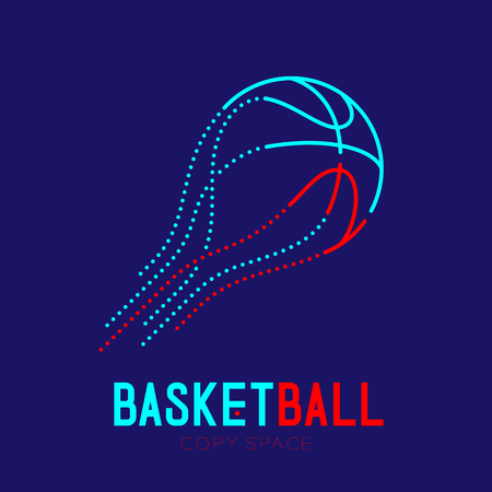 Basketball shooting logo icon outline stroke set dash line design illustration isolated on dark blue background with basketball text and copy space