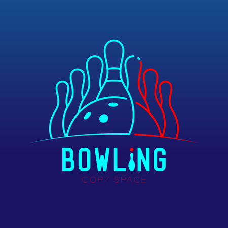 Bowling with pins logo icon outline stroke set dash line design illustration isolated on blue gradients background with bowling text and copy space