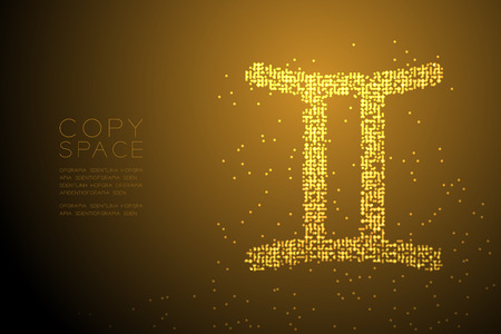 Abstract Geometric Bokeh Circle dot pixel pattern Gemini Zodiac sign shape, star constellation concept design gold color illustration isolated on brown gradient background with copy space, vector