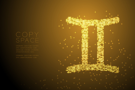 Abstract Shiny Star pattern Gemini Zodiac sign shape, star constellation concept design gold color illustration isolated on brown gradient background with copy space, vector eps 10