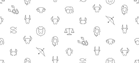 Zodiac constellation icon seamless pattern outline stroke set dash line design illustration isolated on white background