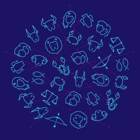 Zodiac constellation icon pattern circle shape outline stroke set dash line design illustration isolated on dark blue background Illustration