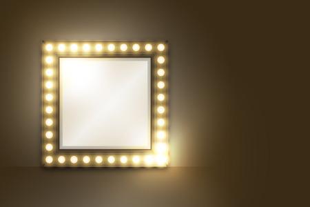Espejo con marco de caja de bombilla incandescente, conjunto de forma cuadrada, ilustración retro estilo 3D, resplandor aislado en fondo oscuro con espacio de copia, vector eps 10