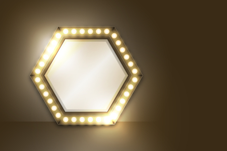Mirror with Incandescent light bulb box frame hexagon shape set, illustration retro 3D style isolated glow in dark background with copy space, vector eps 10