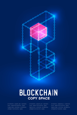 Blockchain technology 3D isometric virtual, Private key concept design illustration isolated on dark blue background and Blockchain Text with copy space, vector eps 10 Illustration