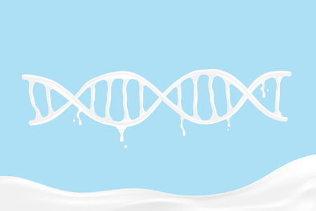 Milk pouring DNA shape, World Milk Day concept 3D virtual design illustration isolated on blue background with copy space, vector eps 10 Illustration