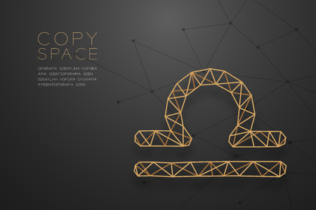 Libra Zodiac sign wireframe Polygon golden frame structure, Fortune teller concept design illustration isolated on black gradient background with copy space, vector