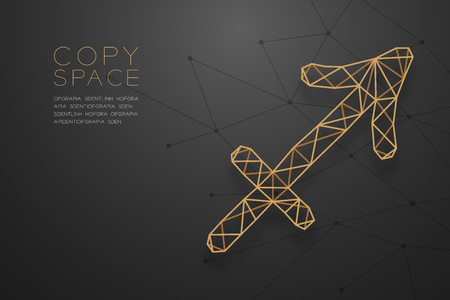 Sagittarius Zodiac sign wireframe Polygon golden frame structure, Fortune teller concept design illustration isolated on black gradient background with copy space, vector