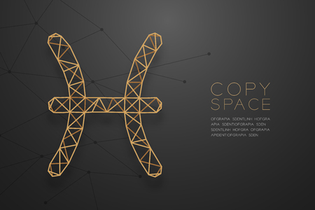 Pisces Zodiac sign wireframe Polygon golden frame structure, Fortune teller concept design illustration isolated on black gradient background with copy space, vector