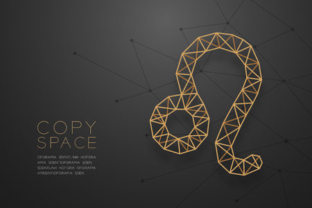 Leo Zodiac sign wireframe Polygon golden frame structure, Fortune teller concept design illustration isolated on black gradient background with copy space, vector