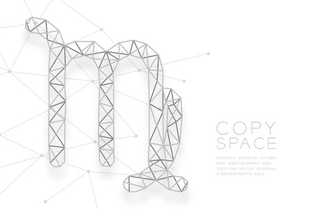 Virgo Zodiac sign wireframe Polygon silver frame structure, Fortune teller concept design illustration isolated on white background with copy space, vector Illustration