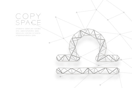 Libra Zodiac sign wireframe Polygon silver frame structure, Fortune teller concept design illustration isolated on white background with copy space, vector