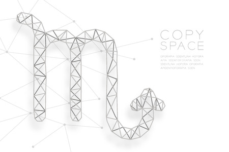 Scorpio Zodiac sign wireframe Polygon silver frame structure, Fortune teller concept design illustration isolated on white background with copy space, vector Illustration