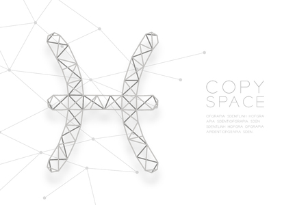 Pisces Zodiac sign wireframe Polygon silver frame structure, Fortune teller concept design illustration isolated on white background with copy space, vector Illustration