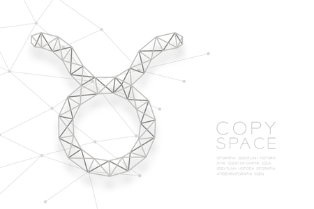 Taurus Zodiac sign wireframe Polygon silver frame structure, Fortune teller concept design illustration isolated on white background with copy space, vector