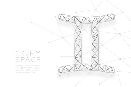 Gemini Zodiac sign wireframe Polygon silver frame structure, Fortune teller concept design illustration isolated on white background with copy space, vector