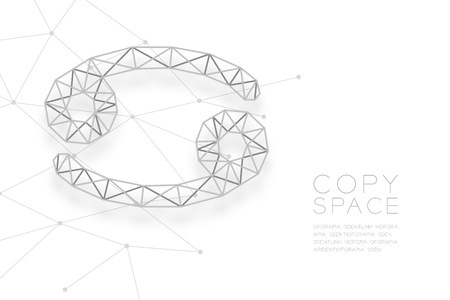 Cancer Zodiac sign wireframe Polygon silver frame structure, Fortune teller concept design illustration isolated on white background with copy space, vector Vettoriali