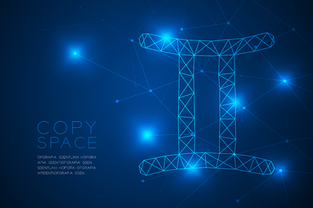 Gemini Zodiac sign wireframe Polygon frame structure, Fortune teller concept design illustration isolated on blue gradient background with copy space, vector Illustration