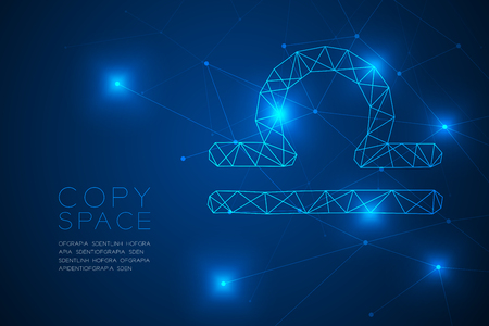 Libra Zodiac sign wireframe Polygon frame structure, Fortune teller concept design illustration isolated on blue gradient background with copy space, vector Illustration