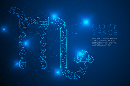 Scorpio Zodiac sign wireframe Polygon frame structure, Fortune teller concept design illustration isolated on blue gradient background with copy space, vector Ilustración de vector