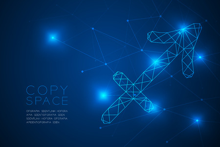 Sagittarius Zodiac sign wireframe Polygon frame structure, Fortune teller concept design illustration isolated on blue gradient background with copy space, vector Illustration