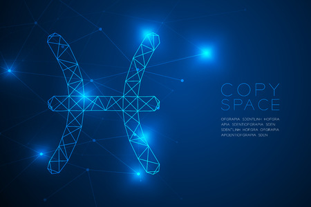 Pisces Zodiac sign wireframe Polygon frame structure, Fortune teller concept design illustration isolated on blue gradient background with copy space, vector