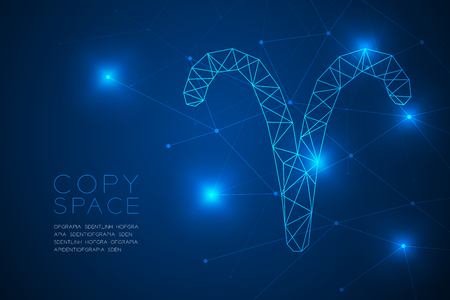 Aries Zodiac sign wireframe Polygon frame structure, Fortune teller concept design illustration isolated on blue gradient background with copy space, vector