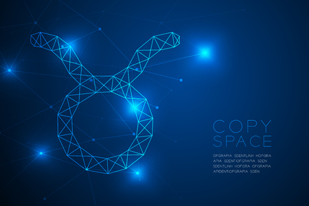 Taurus Zodiac sign wireframe Polygon frame structure, Fortune teller concept design illustration isolated on blue gradient background with copy space, vector