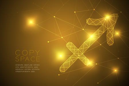 Sagittario segno zodiacale wireframe poligono struttura del telaio, Fortune teller concept design illustrazione isolato su sfondo sfumato oro con spazio di copia, vettore