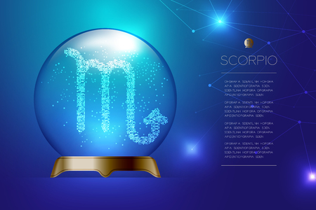 Scorpio Zodiac sign in Magic glass ball, Fortune teller concept design illustration on blue gradient background with copy space, vector Illustration