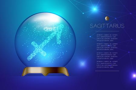 Segno zodiacale Sagittario nella sfera di vetro magica, illustrazione di disegno di concetto di cassiere di fortuna su sfondo blu sfumato con spazio di copia, vettore