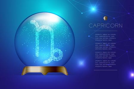 Segno zodiacale Capricorno nella sfera di vetro magica, illustrazione di disegno di concetto di cassiere di fortuna su sfondo blu sfumato con spazio di copia, vettore