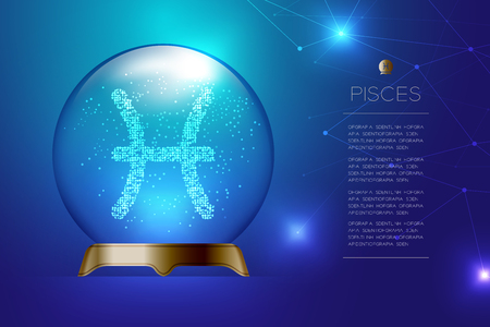 Pisces Zodiac sign in Magic glass ball, Fortune teller concept design illustration on blue gradient background with copy space, vector Illustration